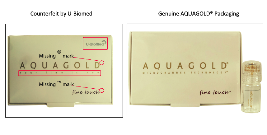 Genuine AQUAGOLD® fine touch™ Packaging vs Counterfeit Packaging