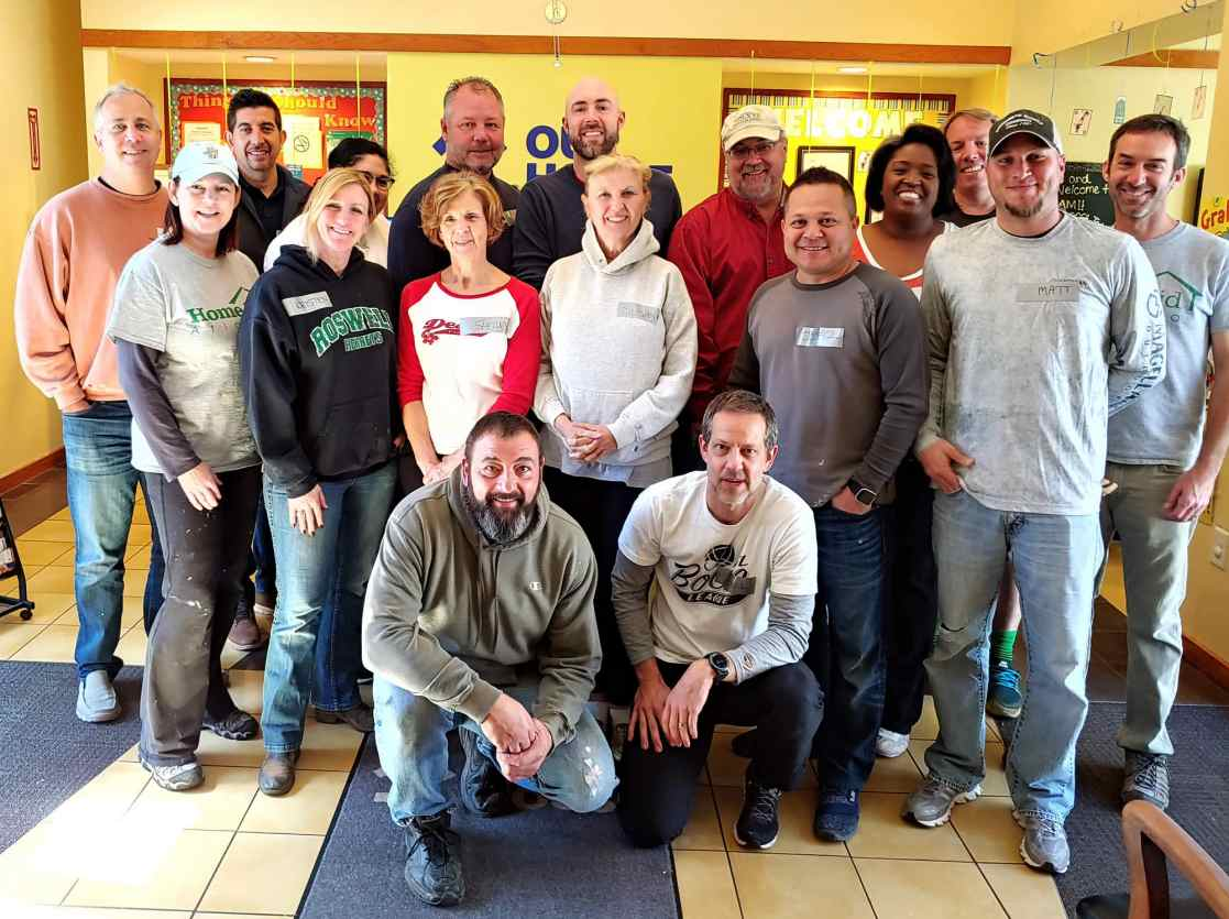 HomeAid volunteers from Brightwater Homes at Our House Decatur on March 5, 2019.
