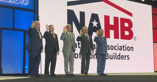 Dean R. Mon Installed as NAHB 1st VP With Board Members at IBS 2019