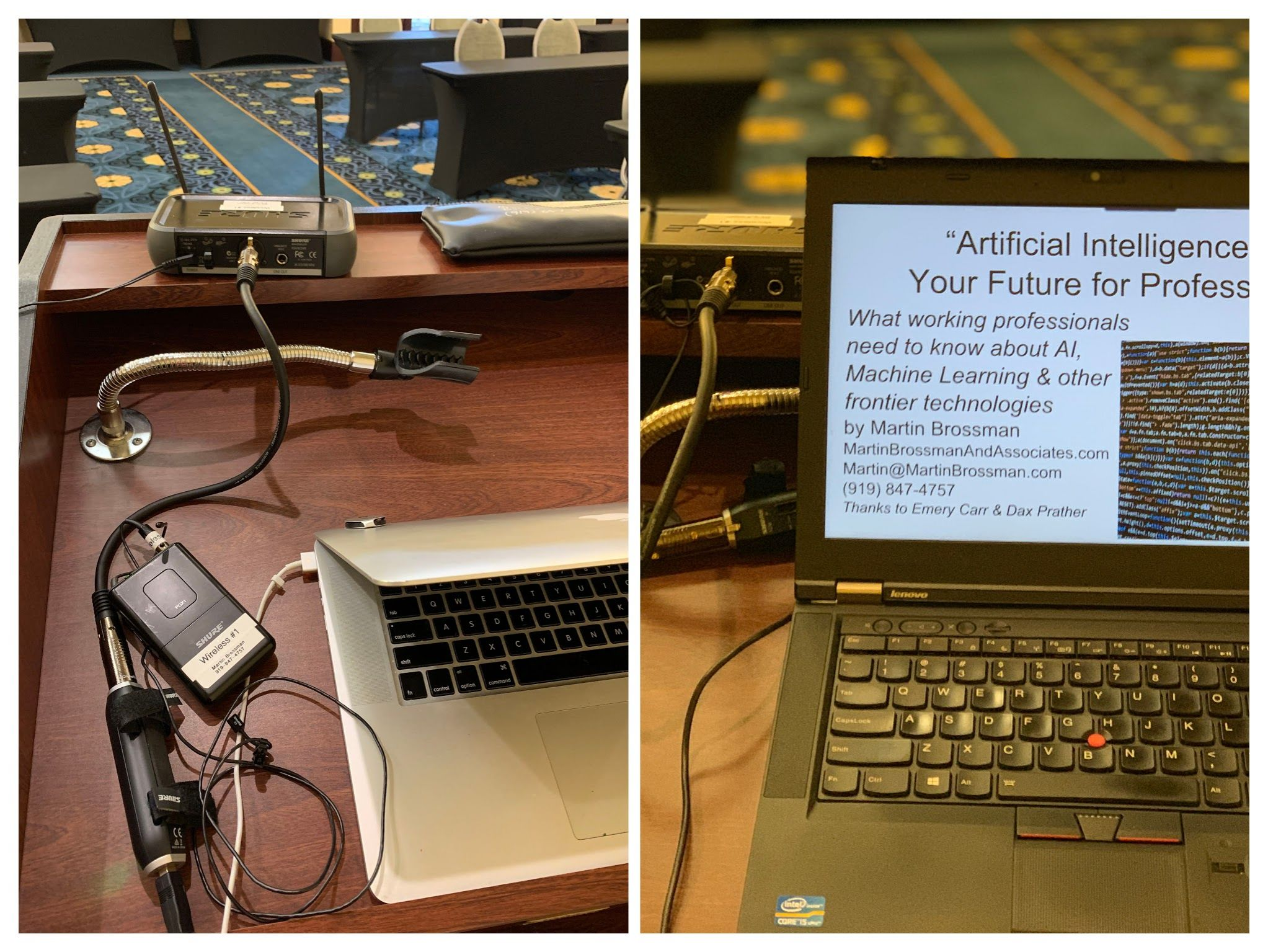 Example of the equipment used to make the broadcast to remote participants work