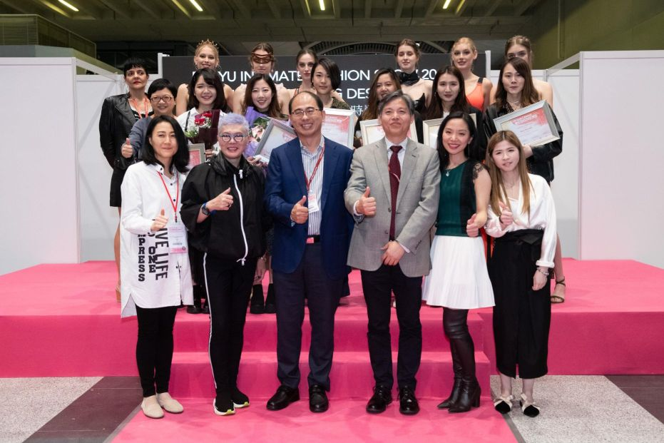 Group photo of the guests and students at the PolyU Intimate Fashion Show.