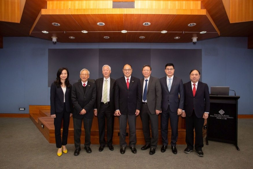 Prof Jin-Guang Teng, the appointed PolyU President (3rd from right)