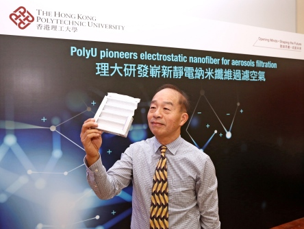 Prof. Leung has developed the electrostatically charged PVDF nanofiber filter