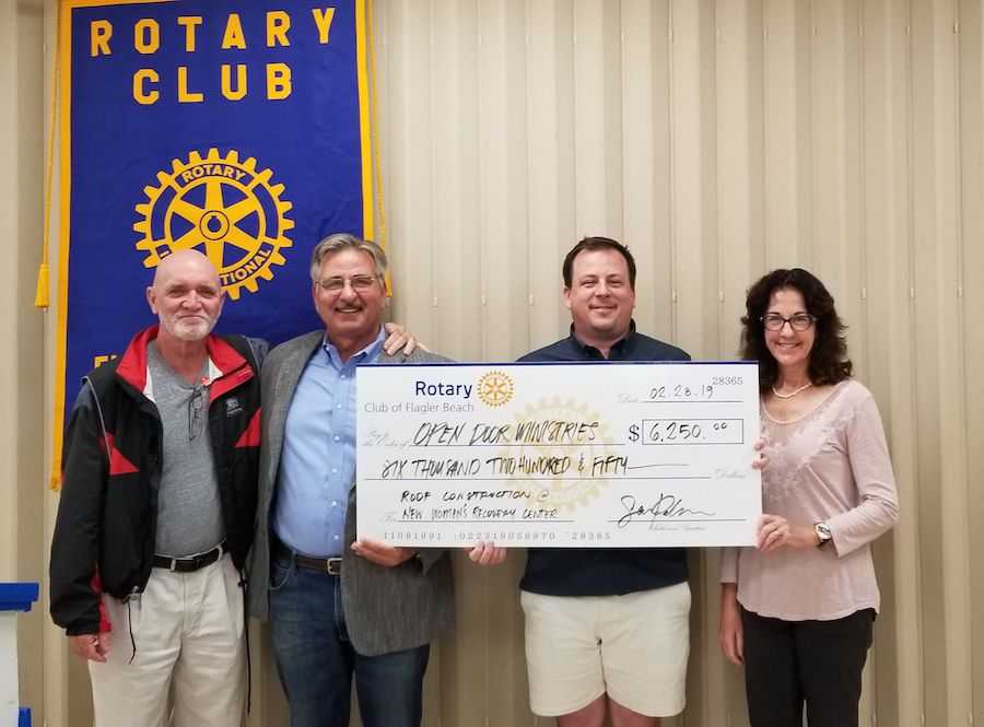 Flagler Beach Rotary Club donates to Open Door Re-Entry and Recovery Ministries.