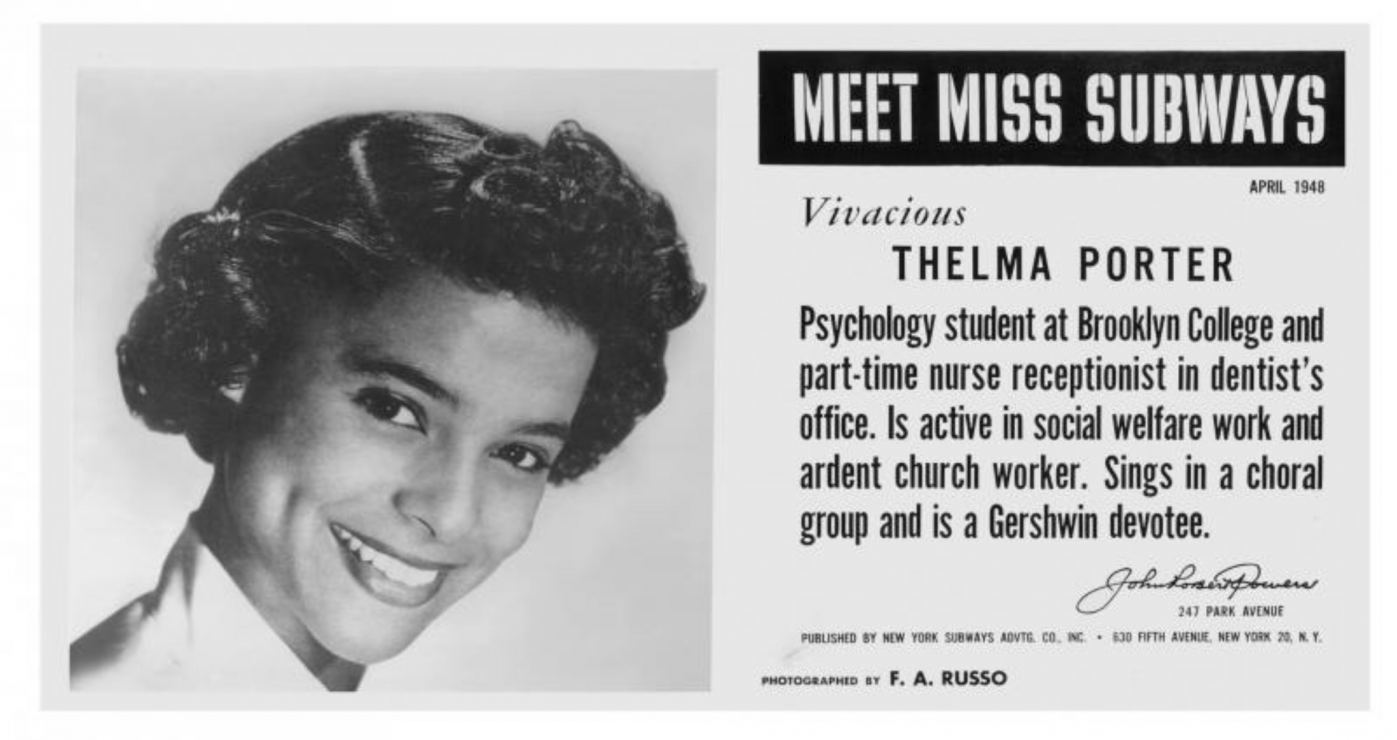 Thelma Porter Parros, Miss Subway NY 1948