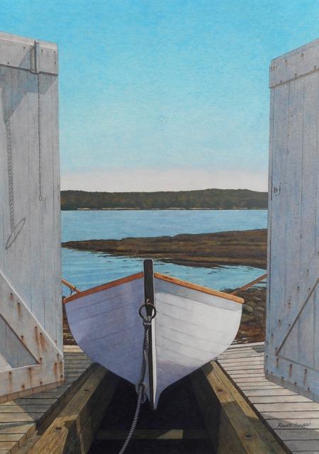 "Randy Eckard ~ 'Burnt Island Launch' ~ Watercolor on Paper 21"" x 15"""