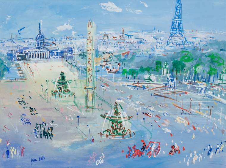 Gorgeous painting by Jean Dufy (French, 1888-1964), titled Place de la Concorde.