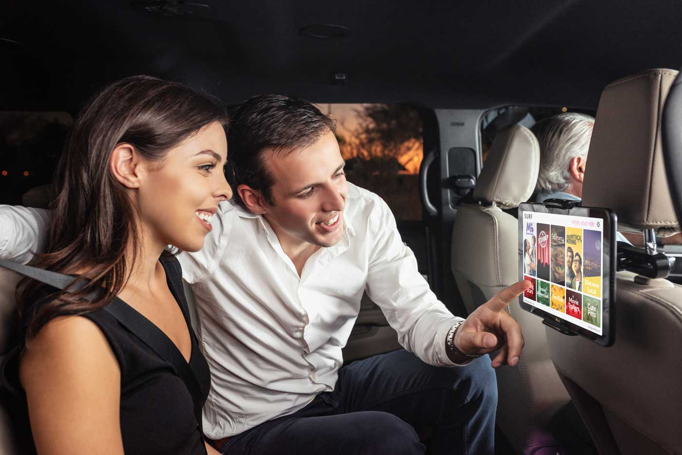 Surf places interactive tablets in rideshare cars across the country