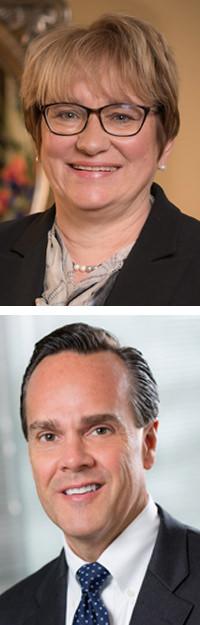 Thiel College President Susan Traverso, Sharon Regional President Joseph Hugar