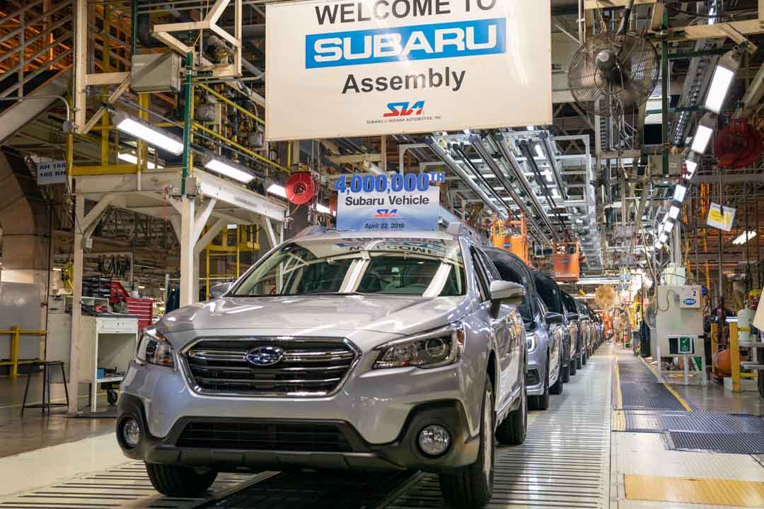 Subaru of Indiana Automotive produced its 4 millionth Subaru vehicle.