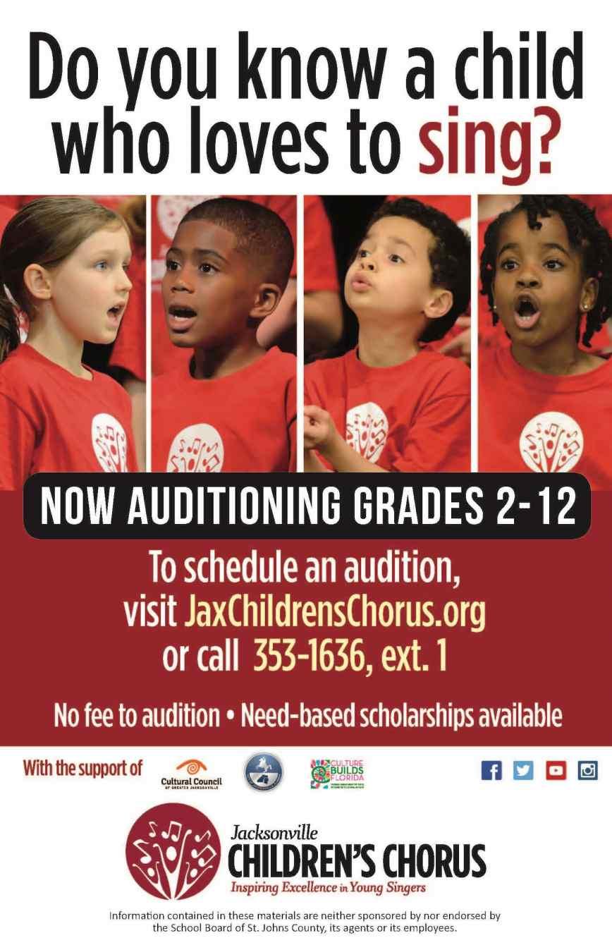 Jacksonville Children's Chorus Now Auditioning for the 2019/2020 Season