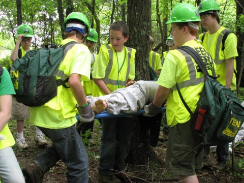 Students learn how to properly carry disaster victims to safety