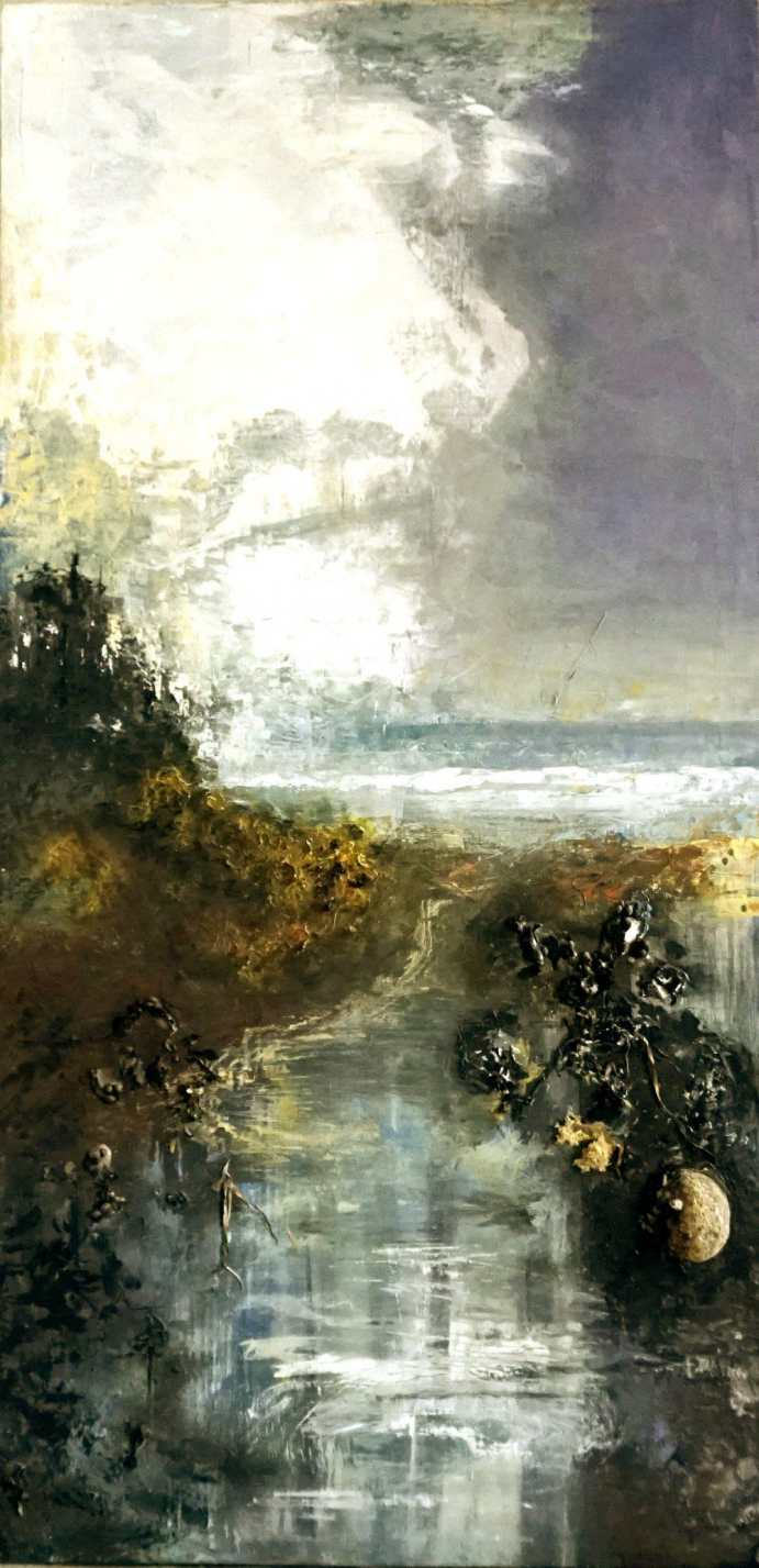"Patricia Chandler ~ 'Beach with Kelp and Rock' ~ Mixed Media on Panel 48"" x 24"""