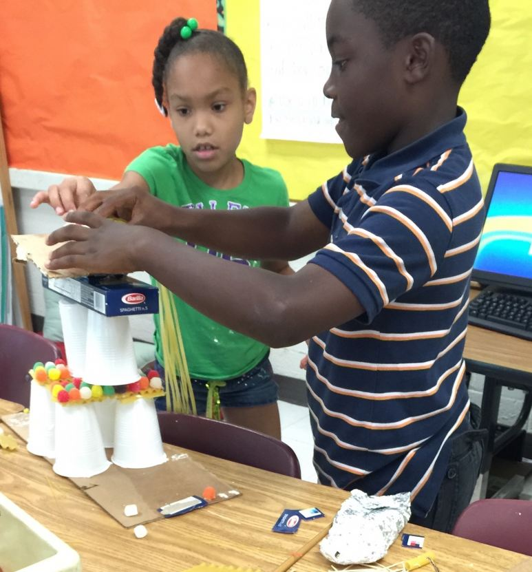 Elementary students engaged in SMART city design