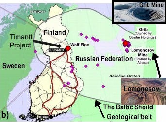 Arctic Star Timantti Diamond Project Location Map, same geological belt as Grib