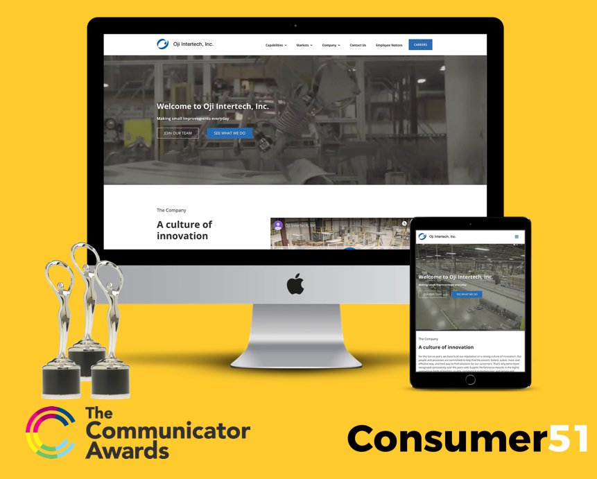 Oji Intertech's new website won three awards at the 25th Communicator Awards