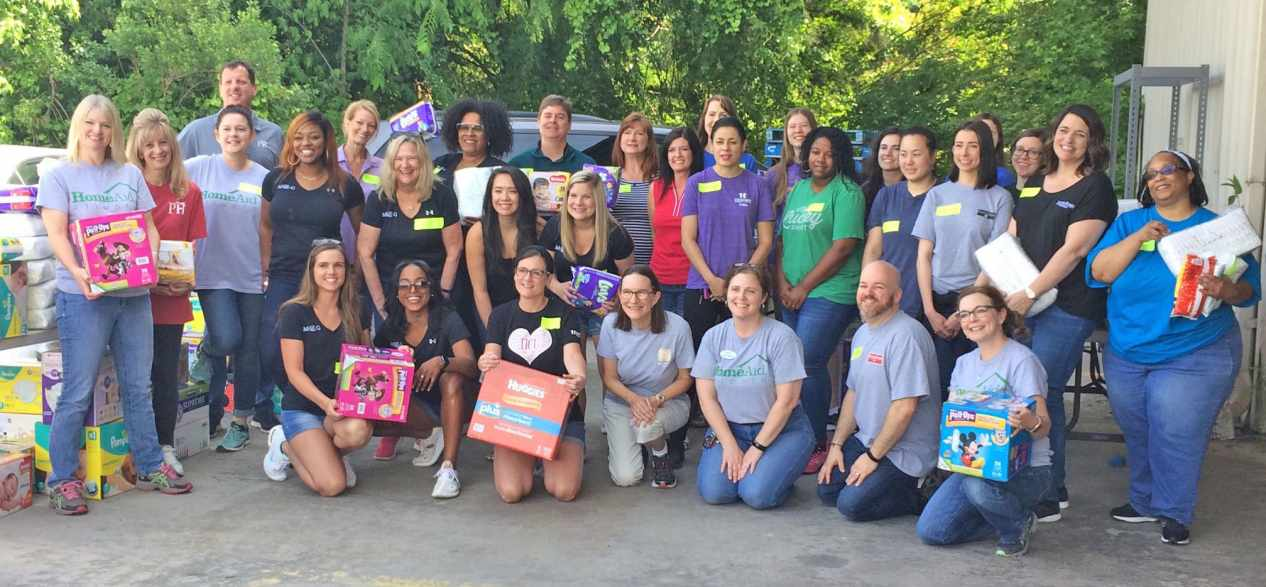 On May 9, 35 HomeAid volunteers gathered to sort, count, and pack donations.