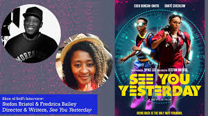 Stefon Bristol and Fredrica Bailey with poster of See You Yesterday