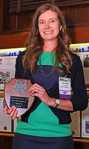 Mary Beth Berkes, PE accepts the SAME 2018 Young Professional of the Year award