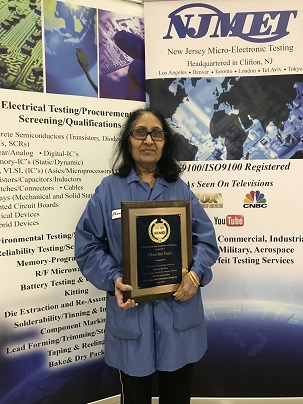 Chanchal Patel with her NJMET, Inc 30 year service anniversary plaque.