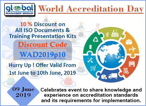 World Accreditation Day Discount on ISO Documents by Global Manager Group