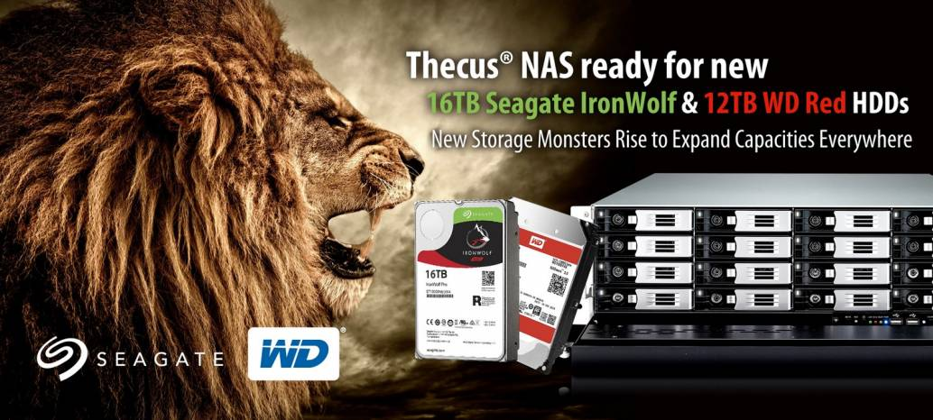 Thecus® NAS ready for new 16TB Seagate IronWolf & 12TB WD Red HDDs
