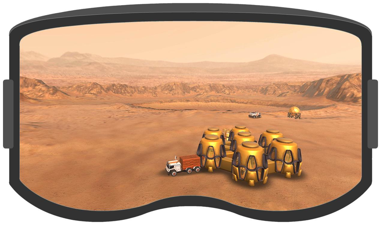 A screen from the award-winning VR game, Earth-to-Mars.