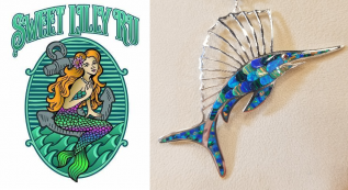 Tiled Opal Blue Marlin Pendant