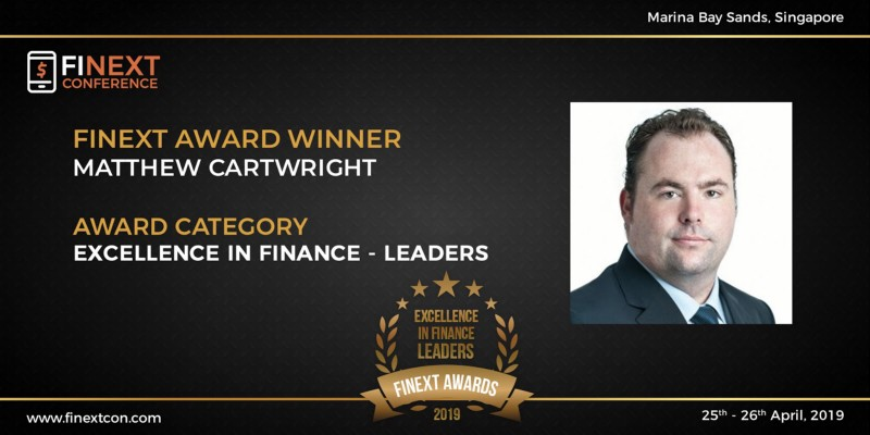 Matthew Cartwright awarded the 'Excellence in Finance -Leaders award at FiNext