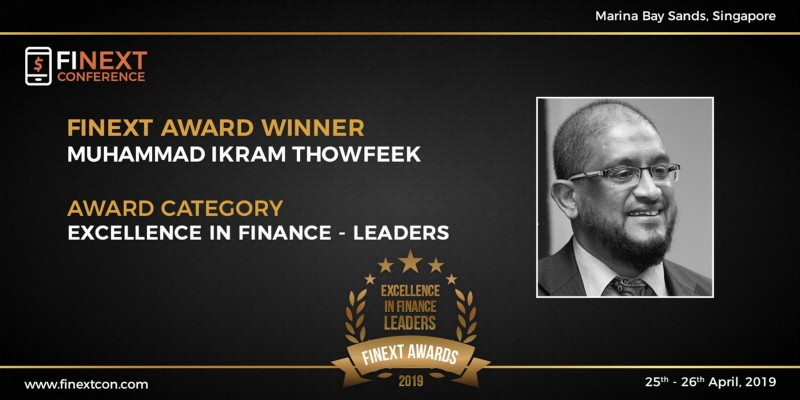 Muhammad IkramThowfeek awarded 'Excellence in Finance -Leaders award at FiNext