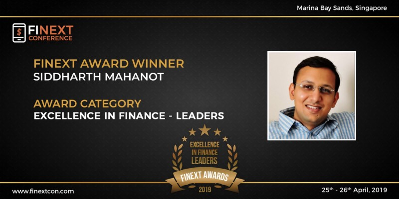 Siddharth Mahanot awarded the 'Excellence in Finance - Leaders award at FiNext