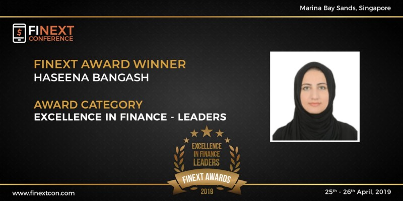 Haseena Bangash awarded the 'Excellence in Finance - Leaders award at FiNext
