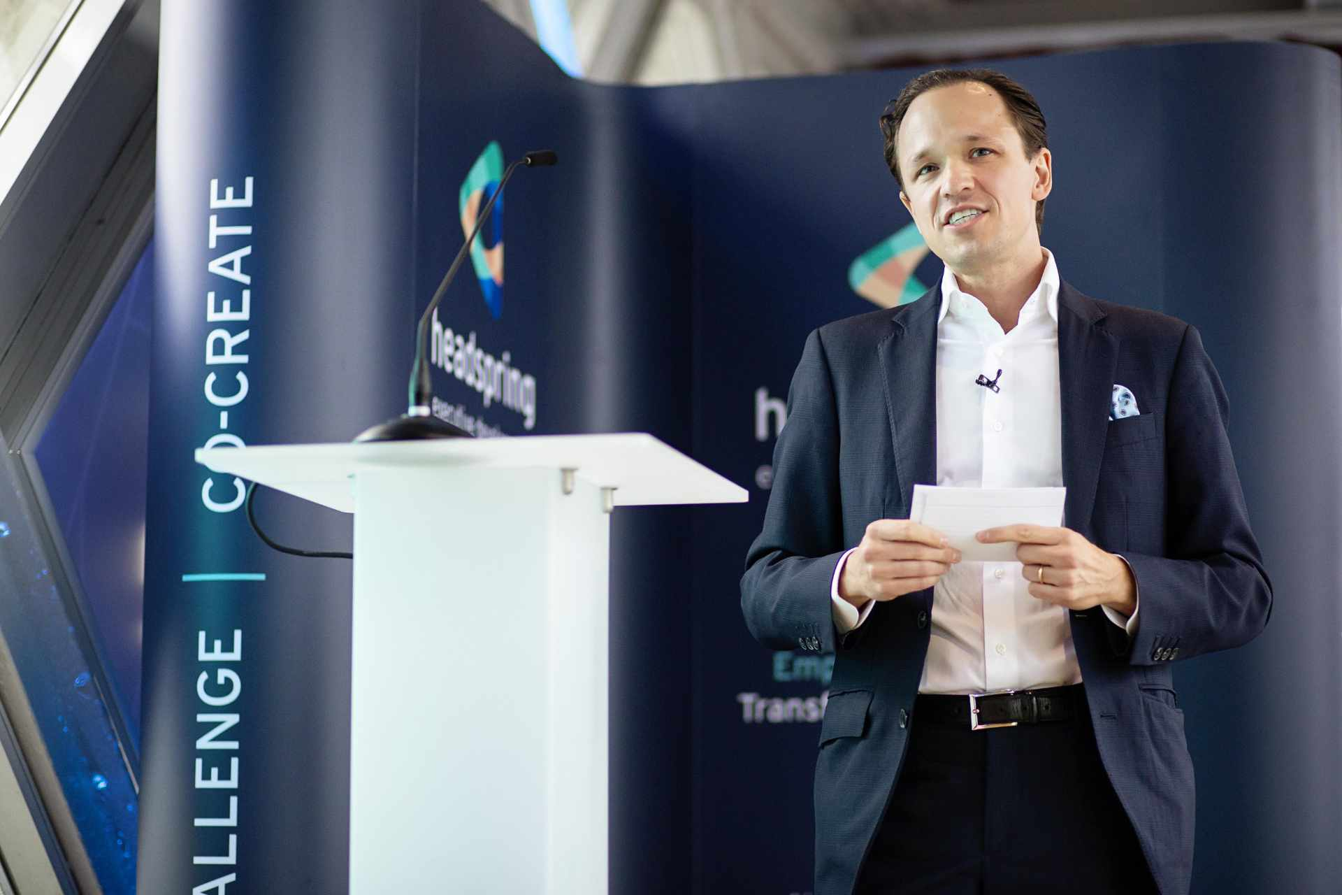 Gustaf Nordback speaking at the Headspring brand launch at Tower Bridge, London.