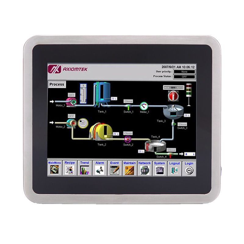 Axiomtek's latest stainless steel touch panel computer, the GOT810-845.