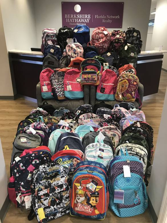 Berkshire Hathaway HomeServices Florida Network Realty is collecting backpacks
