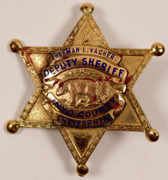 Gold plated 6-point sheriff's badge from Inyo Cty., Calif. (est. $400-$1,000)