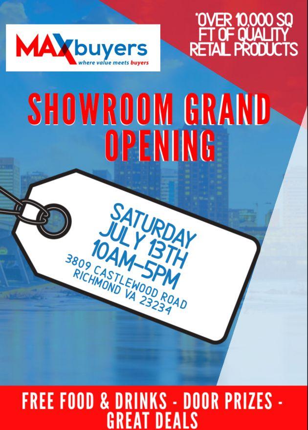 MAXBuyers Showroom Grand Opening event flyer