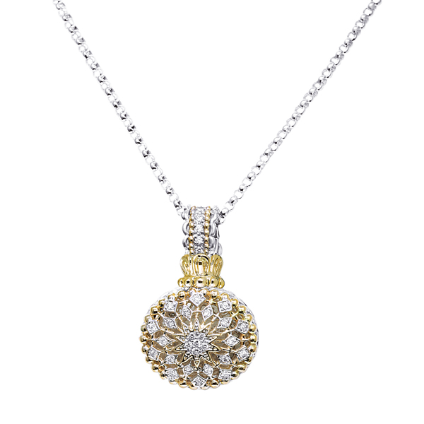 Diamond Solitaire Pendants Set with Gold Chain