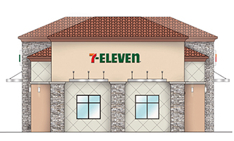 Rendering for 7-Eleven convenience store and gas station in Fontana, Calif.