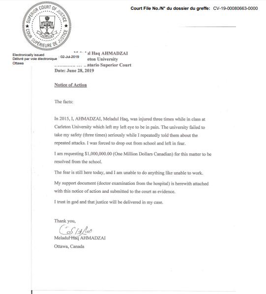notice of action against carleton u