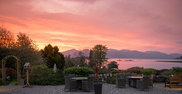 Airds terrace & loch pink sunset, mini