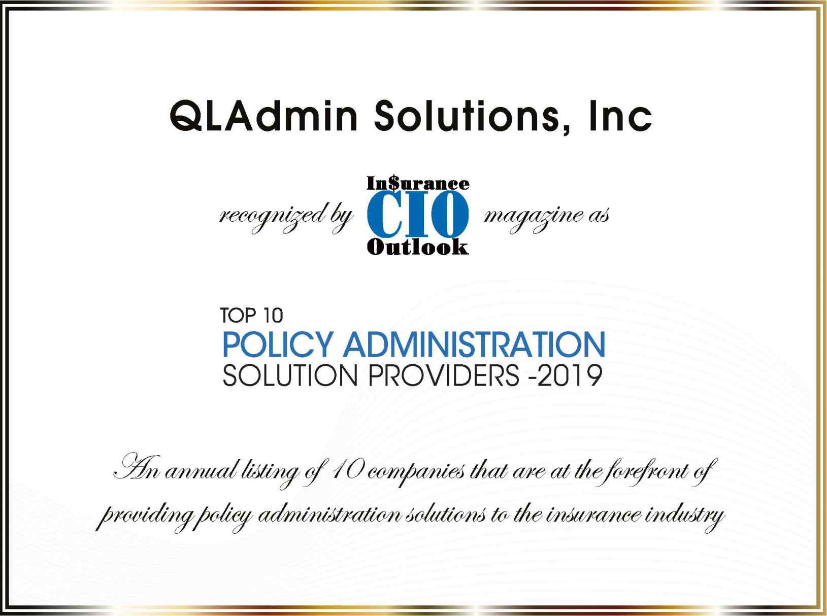 QLAdmin Solutions Top 10 PAS Provider 2019
