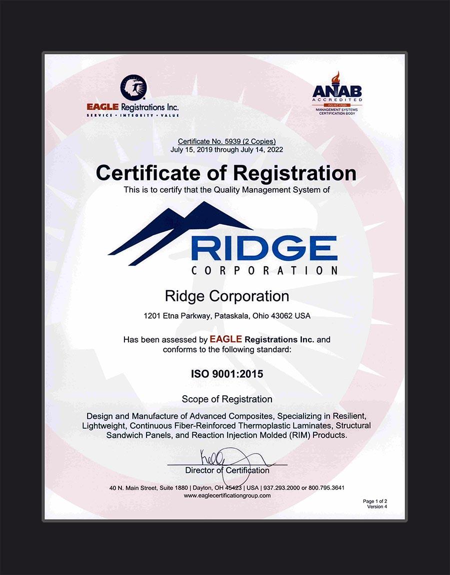 Ridge Corporation Certificate of Registration