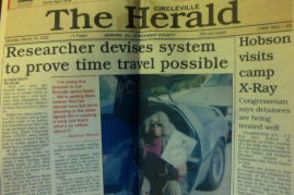 2002 newspaper cover story about Marshall's early time related research.