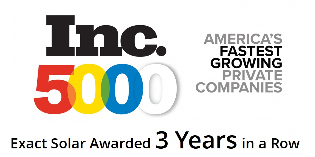 Exact Solar Receives Third INC 5000 Award