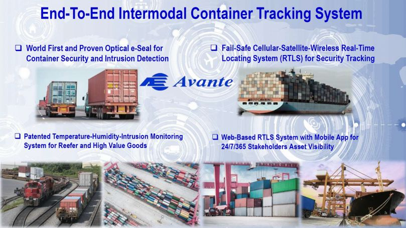 AVANTE e-Seal Container Real-Time Locating-Tracking System at Sea and on Land
