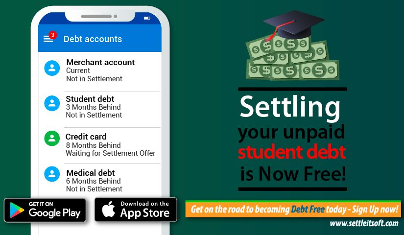 Settle private student loans easily with the FREE SettleiTsoft Debt Relief App