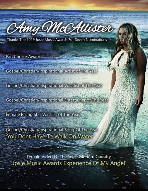 Amy McAllister Up For Seven Josie Music Awards