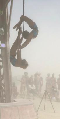 Nina Sawant and Christine Lee perform at Burning Man
