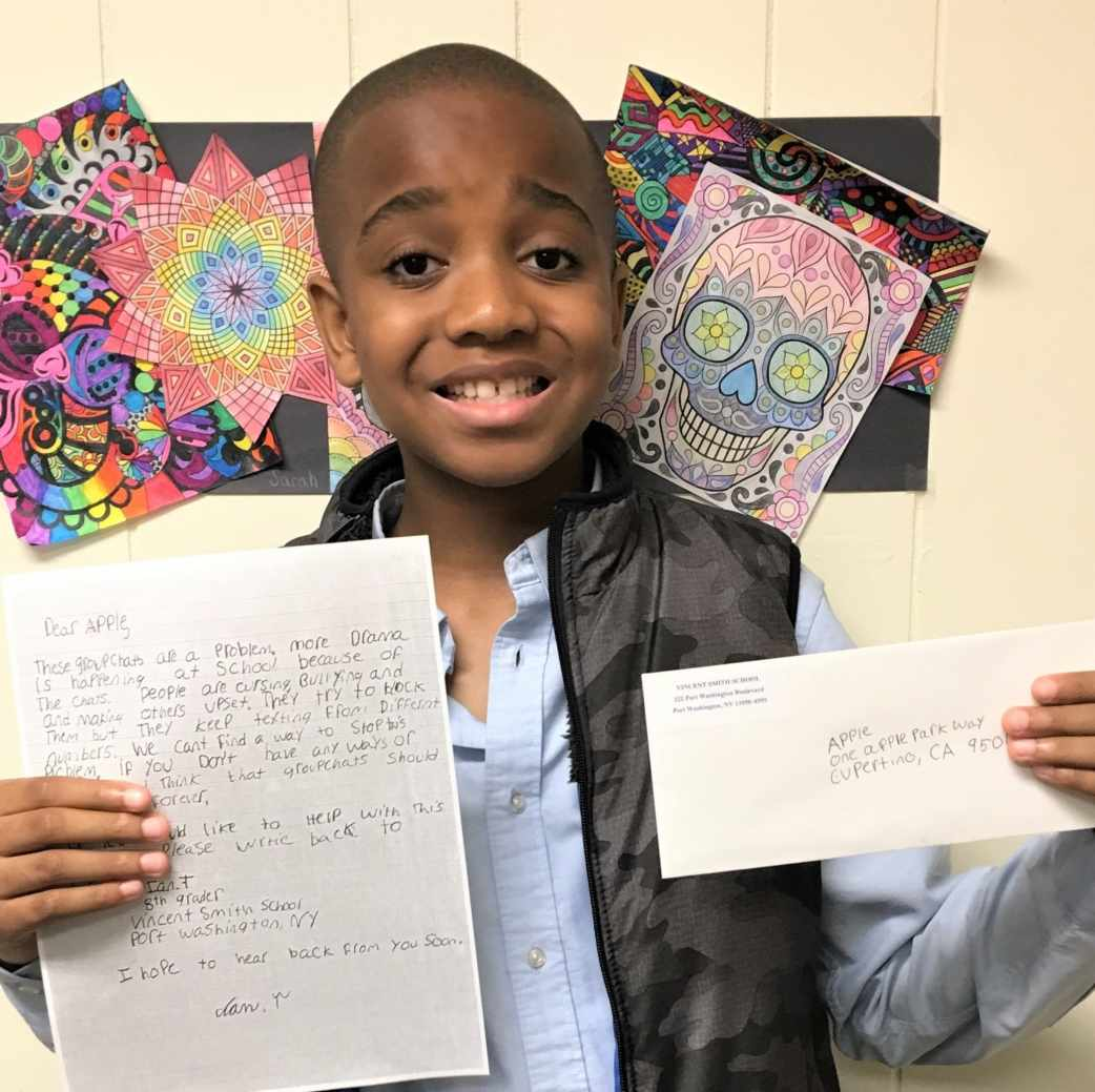 Vincent Smith School student asking Apple to reduce bullying in group chats